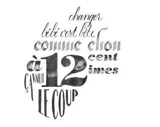 Exercice de calligraphie et de composition type calligramme pour une campagne de communication pour des couches-culottes de la marque Orchestra.